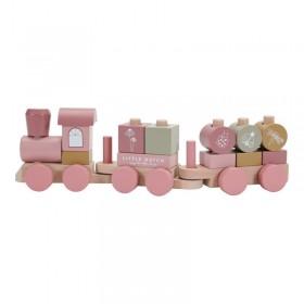 TRAIN EN BOIS ROSE FLEURS
